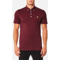 Lyle & Scott Mens Woven Collar Polo Shirt - Claret Jug - M - Burgundy