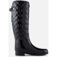Hunter Women's Refined Gloss Quilt Tall Wellies - Black - UK 5 - Black