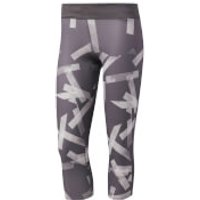 adidas Womens Response 3/4 Running Tights - Grey/White - XS - Grey/White