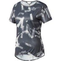 adidas Womens Response Running T-Shirt - Grey/White - M - Grey/White