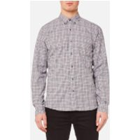 Michael Kors Men's Slim Fit Flannel Open Check BD Long Sleeve Shirt - Chianti - S - Red