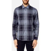 Michael Kors Mens Classic Fit Giant Check Peached Cotton Long Sleeve Shirt - Midnight - L - Blue