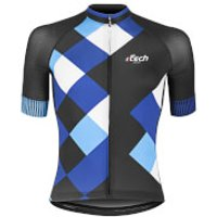 Ftech Cobbles Race Short Sleeve Jersey - M - black/blue/red