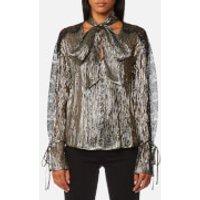 Perseverance London Womens Metallic Chiffon Lace Panel Blouse - Black - UK 10 - Gold