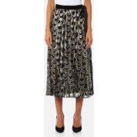 Perseverance London Womens Lurex Teardrop Pleated Midi Skirt - Black - UK 10 - Black