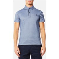 Tommy Hilfiger Mens Ronan Twill Short Sleeve Polo Shirt - Light Indigo - M - Blue