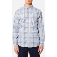 Tommy Hilfiger Mens Reza Check Long Sleeve Shirt - Cloud HTR/Estate Blue - M - Grey