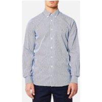 Tommy Hilfiger Mens Lexington Long Sleeve Shirt - Estate Blue/Bright White - XXL - Blue