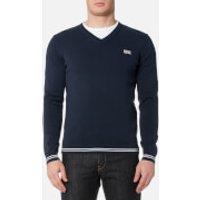BOSS Green Mens Vime V Neck Knitted Jumper - Navy - M - Blue