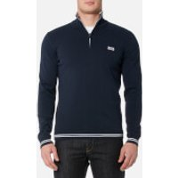 BOSS Green Men's Zime Quarter Zip Knitted Jumper - Navy - XL - Blue