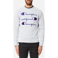Champion Men's Crew Neck 3 Logo Sweatshirt - Grey Marl - XL - Grey