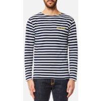 Maison Labiche Mens Old School Long Sleeve T-Shirt - Bleu Blanc - S - Blue