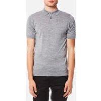 John Smedley Mens Payton 30 Gauge Merino Short Sleeve Polo Shirt - Silver - M - Grey