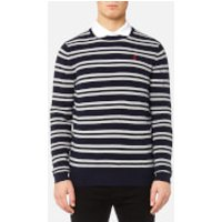 MUSTO Mens Lune Crew Neck Knitted Jumper - True Navy/Sail White - S - Blue
