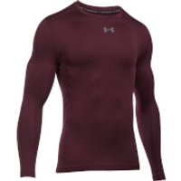Under Armour Mens Striped Compression Long Sleeve Crew Top - Burgundy - S - Burgundy