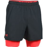 Under Armour Mens Qualifier 2-in-1 Shorts - Black/Red - L - Black/Red