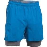 Under Armour Mens Qualifier 2-in-1 Shorts - Blue - XL - Blue