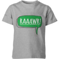 Dinosaur Rawr! Kids Grey T-Shirt - 11-12 Years - Grey