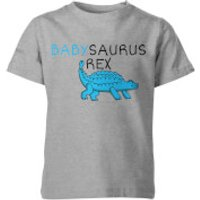 My Little Rascal Kids Babysaurus Rex Grey T-Shirt - 11-12 Years - Grey