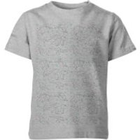 Origami Dinosaur All Over Print Kids Grey T-Shirt - 11-12 Years - Grey