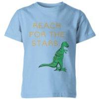 Dinosaur Reach For The Stars Kid's Light Blue T-Shirt - 11-12 Years - Light Blue