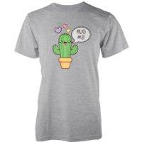 Kawaii Cactus Hug Me Grey T-Shirt - L - Grey