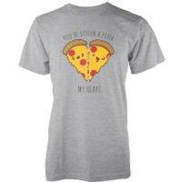 Kawaii You Stole A Pizza My Heart Grey T-Shirt - XL - Grey