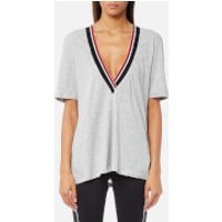 MINKPINK Move Womens Track Star Deep V Neck Top - Grey Marle - S - Grey