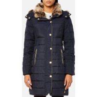 Joules Womens Caldecott Feather and Down Coat with Faux Fur Trim Hood - Marine Navy - UK 12 - Blue