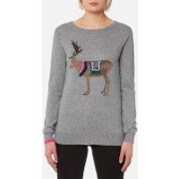 Joules Womens Festive Luxe Embellished Intarsia Jumper - Grey Reindeer - UK 12 - Grey