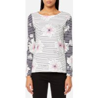 Joules Women's Harbour Print Jersey Top - Cream Peony Stripe - UK 10 - Multi