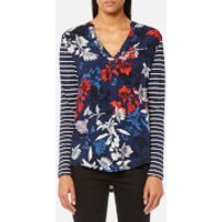 Joules Womens Beatrice Jersey/Woven Mix Top - French Navy Fay Floral - UK 10 - Blue