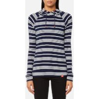 Joules Womens Marlston Hooded Sweatshirt - French Navy Stripe - UK 8 - Blue
