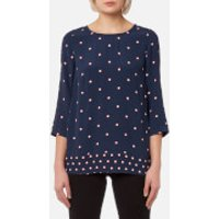 Joules Women's Leah Woven Printed Top - French Navy Top - UK 8 - Blue
