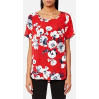 Joules Womens Hannah Printed Woven Shell Top - Red Posy - UK 14 - Red