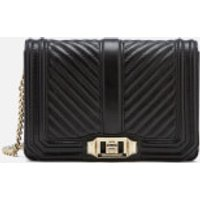 Rebecca Minkoff Womens Chevron Quilted Small Love Cross Body Bag - Black