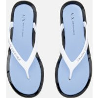 Armani Exchange Womens PVC Flip Flops - Obsidian/Serenity/White - US 5/UK 3.5 - White