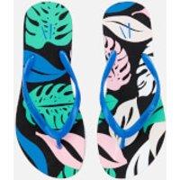 Armani Exchange Women's Flip Flops - Pattern Leaves - US 8/UK 6.5 - Multi