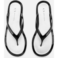 Armani Exchange Womens PVC Flip Flops - Nero/Argento - US 7/UK 5.5 - Black
