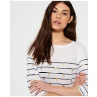Superdry Womens Conversational Breton Top - Stripe Palm - S - Blue