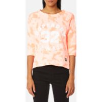 Superdry Womens Washed Crop Crew Sweatshirt - Bird of Paradise Coral - XS - Pink