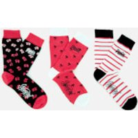 Superdry Womens Palm Flower Triple Pack Socks - Black/White/Pink
