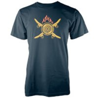 Crossed Flaming Skateboard Navy T-Shirt - XXL - Navy - Skateboard Gifts