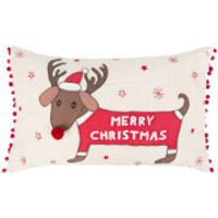 Sass & Belle Merry Dachshund with Antlers Cushion Cover - Dachshund Gifts