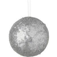 Parlane Sequin Hanging Decoration (10 x 10cm) - Silver Bauble