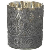 Parlane Lacey Glass Tea Light Holder (9 x 7cm) - Grey