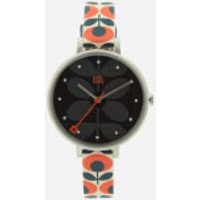 orla-kiely-women-ivy-print-leather-watch-navy-orange