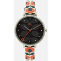 Orla Kiely Womens Ivy Print Leather Watch - Navy/Orange