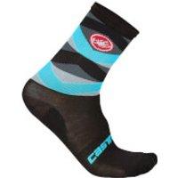 Castelli Fatto 12 Socks - Black/Sky Blue - S-M - Black/Blue