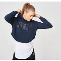 Cropped Logo Hoodie - S - Navy